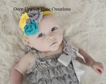 Gray, Aqua & Yellow Triple Shabby Flower Headband with Sparkling Rhinestone - Baby's First Photos - Spring or Summer Little Girls Hairbow