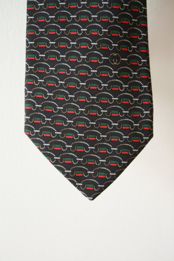 Gucci Red Green Chain on Black Vintage Tie