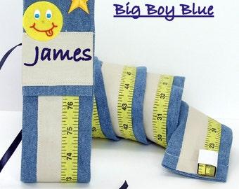 BIG BOY - Fabric Growth Chart - Big Boy Wall Decor - Personalized Boys Room Decor - Blue DENIM Fabric