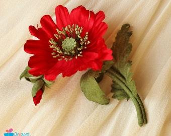 Poppy brooch, silk flower corsage, silk poppy, red poppy, fabric poppy, poppy jewelry, poppy wedding, poppy corsage
