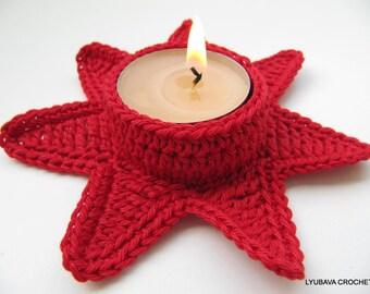 Crochet PATTERN-Red Star Tea Light Holder-Christmas Decor-Crochet Cozy-Christmas Gifts-Instant Download PDF Pattern No.57 by Lyubava Crochet