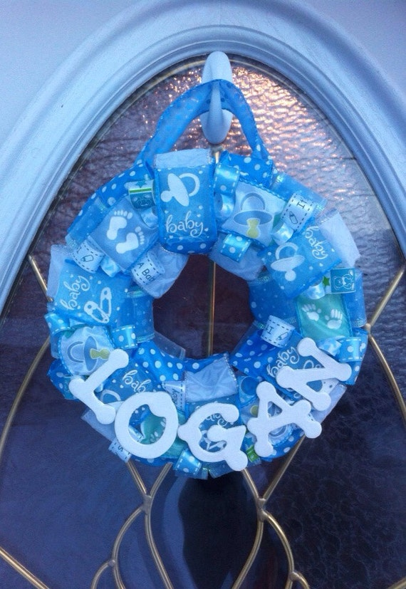 Baby wreath with name for shower and hospital by wehavewreaths for Baby boy hospital door decoration