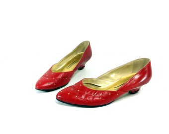 20 SALE -- Red Leather Low Heels 7 - Gold Studded Slip On Pumps 7 - Red High Heels 7