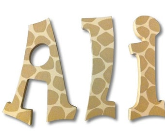 Giraffe Letters, Wooden Signs, Wooden Letters, Wall Decor, Wall Letters, Jungle Letters, Letters for Nursery, Tiny Tot Name Designs