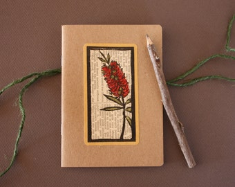 Notebook with Twig Pencil - Handpainted Lino Print Journal - Bottle Brush Flower Notebook - Made in Australia