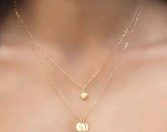 Layered Initial Necklace, 14K Gold Filled, double chain, Puff heart & two 2 initial discs, personalized circles, Monogram,letter Potion No.9