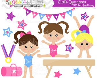 INSTANT DOWNLOAD,  little tumblers clip art or girls gymnastics clip art for personal and commercial use