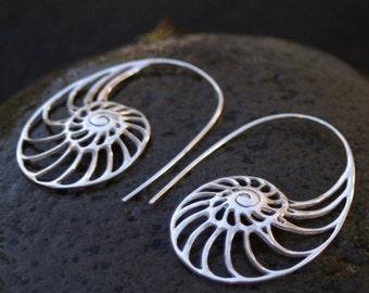 Nautilus Earrings - ammonite earrings - silver hoop earrings - solid sterling silver