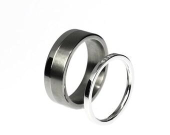 Wedding band set, men's white gold wedding band, women white gold wedding ring, diamond ring, modern, ring set, micro pave, matching, modern