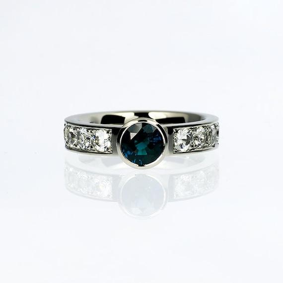 London blue topaz engagement ring white sapphire ring bezel