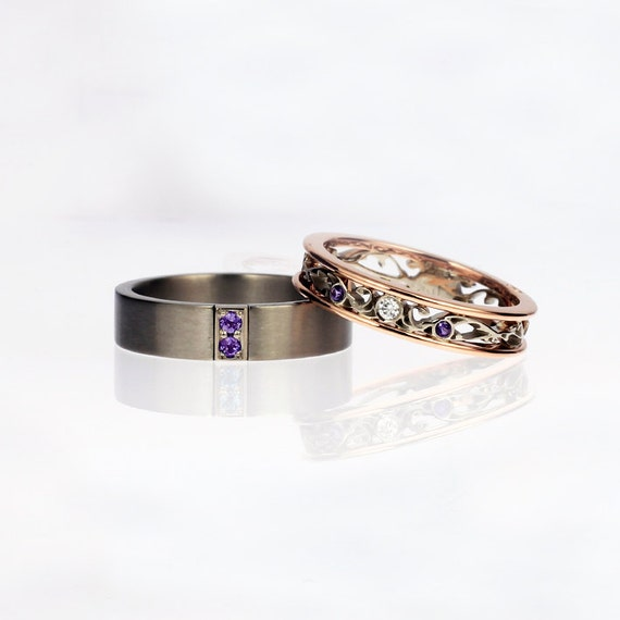 Amethyst wedding ring set rose gold diamond ring men39s for Amethyst diamond wedding ring set