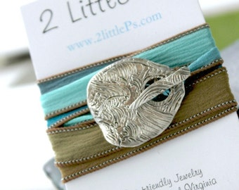 Silk Wrap Bracelet Nautical Jewerly Cool Water Beach Wedding Gift for Her
