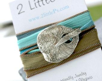 READY TO SHIP Nautical Jewerly   Cool Water Artisan Silk Wrap Bracelet