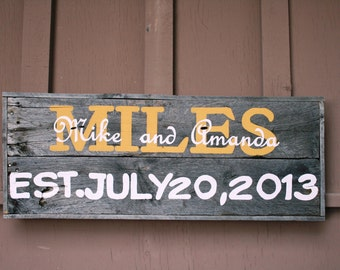Driftwood Personalized Wedding or Anniversary Sign with names & date of wedding--great gift idea! Painting, Milestone memory