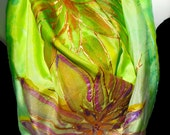 "Iridescent Flowers SILK SCARF. Hand Painted Silk Scarf by NYC  artist Joan Reese/ 30""x30"" /One of a kind/100% Silk/""One of a kind"""