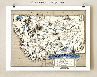 MONTANA MAP PRINT - vintage picture map - wedding gift idea - size & color choices - can be personalized - illustrated map - wall decor