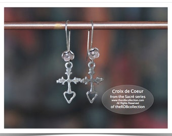 Sterling Cross Earrings - Croix de Coeur