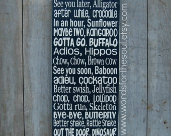 See You Later Alligator Goodbye Wooden Typography Subway Art Sign nursery playroom