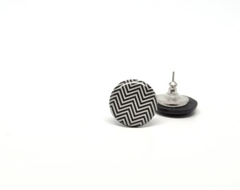 Stud earrings chevron black and white polymer clay ear posts 15mm round