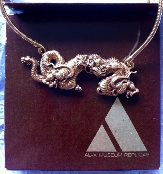 ALVA Museum Replica Dragon Necklace, Gold Toned, Signed, Mint and very Opulent