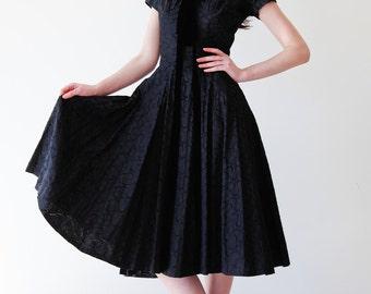 MASSIVE REDUCTION was 430 to 175 divine vintage 50s Suzy PERETTE New Look midi length velvet ribbon feminine cocktail dress lbd