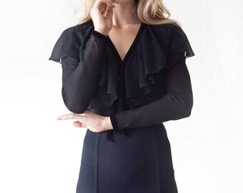 S.U.P.E.R SALE was 365 now 175 sensational vintage 1970s CHLOE sheer silk & velvet ruffle poet blouse Karl Lagerfeld