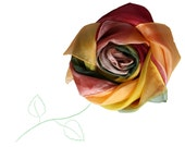 Hand painted silk Scarf. Brown,  red yellow and green. Fall silk scarf. Big silk scarf. Ready to order. 35x35 inches