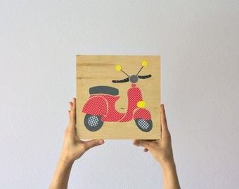 Red vespa kids art eco friendly paper collage on wood, Wall Art,Nursery Art,Kids room art,kids wall art, vespa art,children decor