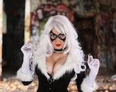 Black Cat Felicia Hardy Woman Leather Mask Spiderman Super Hero Sexy Masquerade Cosplay Halloween Costume Carnival Party Cat Burglar Marvel