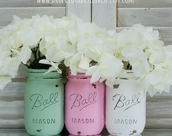Pink, Green, White Painted and Distressed Mason Jars for Weddings, Showers, Home Decor