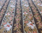 """FABRIC SALE! 4 + Yards Flowers on Bamboo Trellis Brown and Pink Cotton Print Vintage Fabric 45"""" Wide 80s White Roses on Lattice"""
