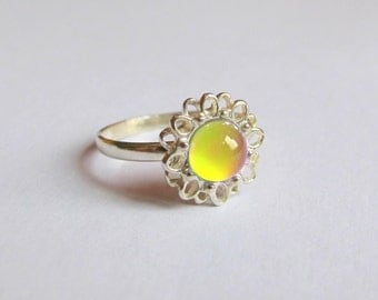 Mood Ring Sterling Silver 925 - 6 mm - High Quality - Daisy, Flower Mood Ring