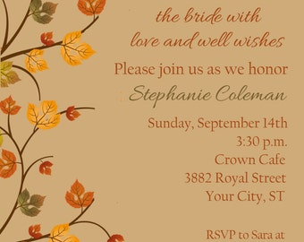 Autumn Leaf Bridal Shower Invitation