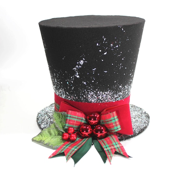 Santa Hat Christmas Tree Topper: Christmas Traditional Top Hat Tree Topper Christmas By