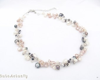 Multicolor freshwater pearl necklace with crystal on silk thread, pink, black, peach