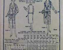 1920's Bath Beach Robe Pattern Rolled Shawl Collar Butterick 6365 Sewing Patterns Factory Folds Non Printed Size Bust 34 Hips 36