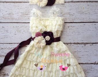 Eggplant ivory dress set , dress, headband, sash, newborn dress, infant outfit, special occasion dress, toddler dressy