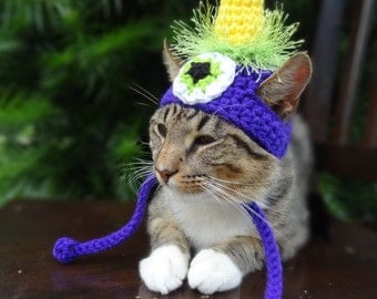 Cat Hat Costume - The Flying Purple People Eater Hat for Cats and Small Dogs -- Small Dog Hat Costume - Halloween Cats Dogs Pets