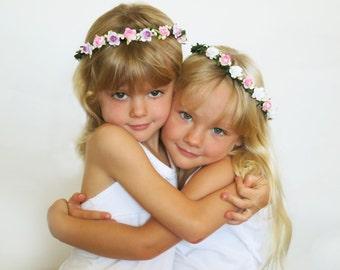 Pastel Rose Hair Crown-Wedding Hair Accessories-Flower Girl Crown-Childrens Flower Crown- Fairy Crown