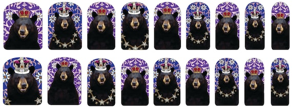 Bear King and Queen Nail Decals Holiday Whimsy