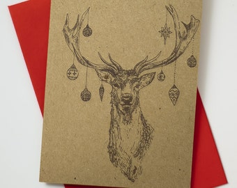 Christmas Stag with Baubles // Vintage Style // Recycled Christmas Card