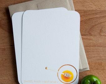 Honey Personalized Stationery Set, Rosh Hashanah Stationary, Jewish New Year Cards