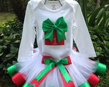 Baby Girl's First Christmas Outfit-Onesie or Shirt w/ Red and Green Present w/ age & White Tulle and Red and Green Ribbon Trim Tutu, Hairbow