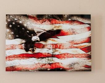 Bald Eagle Bursting Through American Flag,Aluminum Print,  Veterans Day, Americana, patriotic, collage, montage