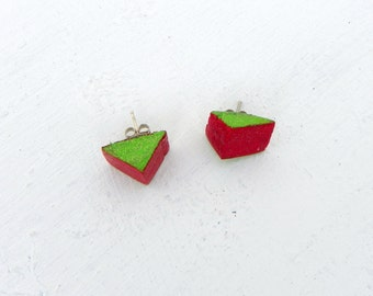 Sparkly Upcycled Handmade Wooden Red and Green Triangle Watermelon Earrings