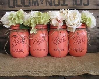 SALE! Set of 4 Pint Mason Jars, Ball jars, Painted Mason Jars, Flower Vases, Rustic Wedding Centerpieces, Dark Coral Mason Jars