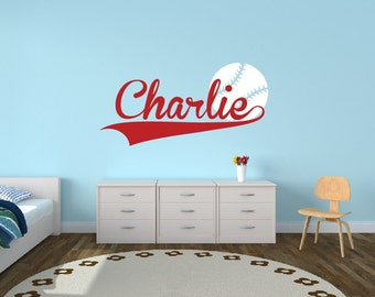 Personalized Baseball Name Decal - Sports Decor Kids Room Teen Name Vinyl Wall Decal Sports