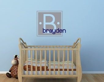 Name Wall Decal Personalized Nursery Decor Childrens Decor Monogram Vinyl Wall Decal