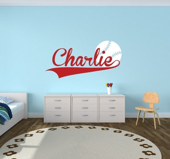 Personalized baseball name decal sports decor kids room teen for Sports decals for kids rooms