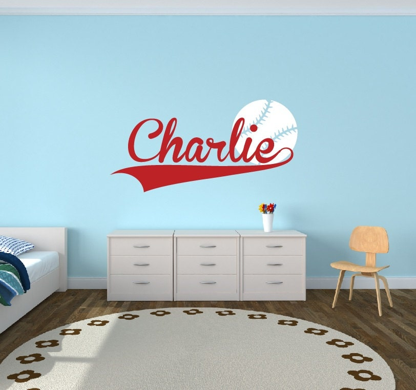 Personalized Baseball Name Decal Sports Decor Kids Room Teen